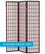 Shoji Wood Frame Cherry 3-Panel Screen