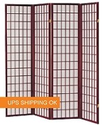 Shoji Wood Frame Cherry 4-Panel Screen